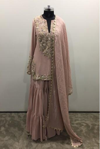 PS-KP0041-1  Rose Pink Colour Mukaish Georgette Short Kurta with Georgette Sharara and Chanderi Checks Dupatta