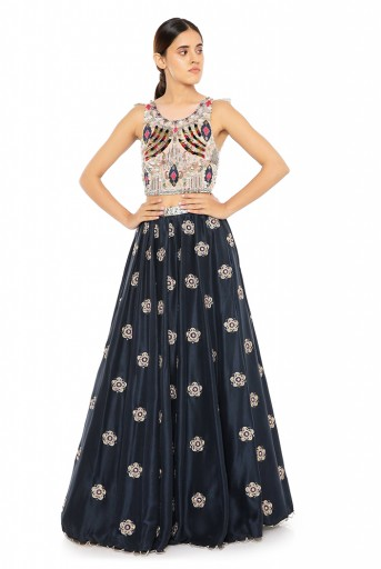PS-ST1477  Rose Pink Georgette Choli with Navy Silk Lehenga