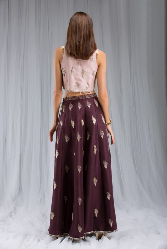 PS-ST0978 Rose Pink Silk Crop Top and Low Crotch Pant with Attached Purple silk Lehenga