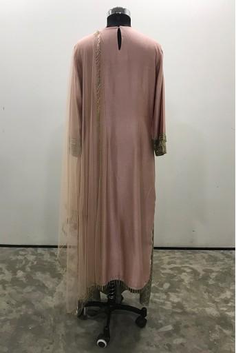 PS-ST1195-G-3 Rose Pink Silk Kurta with Mint Brocade Palazzo and Rose Pink Net Dupatta