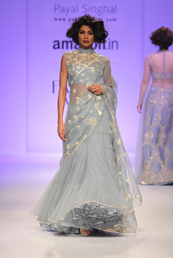PS-FW336 Roselyn Deep Blue Organza Cropped Choli with Saree and Net Tiered Skirt
