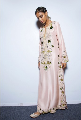 PS-FW567 Roxana Dusky Rose Silk Kaftaan