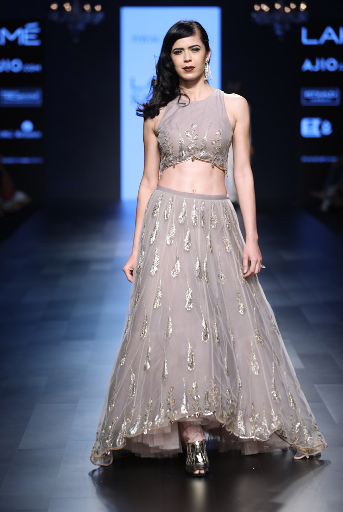 PS-FW422 Ruby Blush Net and Ash Grey Organza Choli with Lehenga