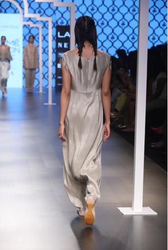 PS-FW497 Rukaiya Grey Silk Low Crotch Pant Jumpsuit
