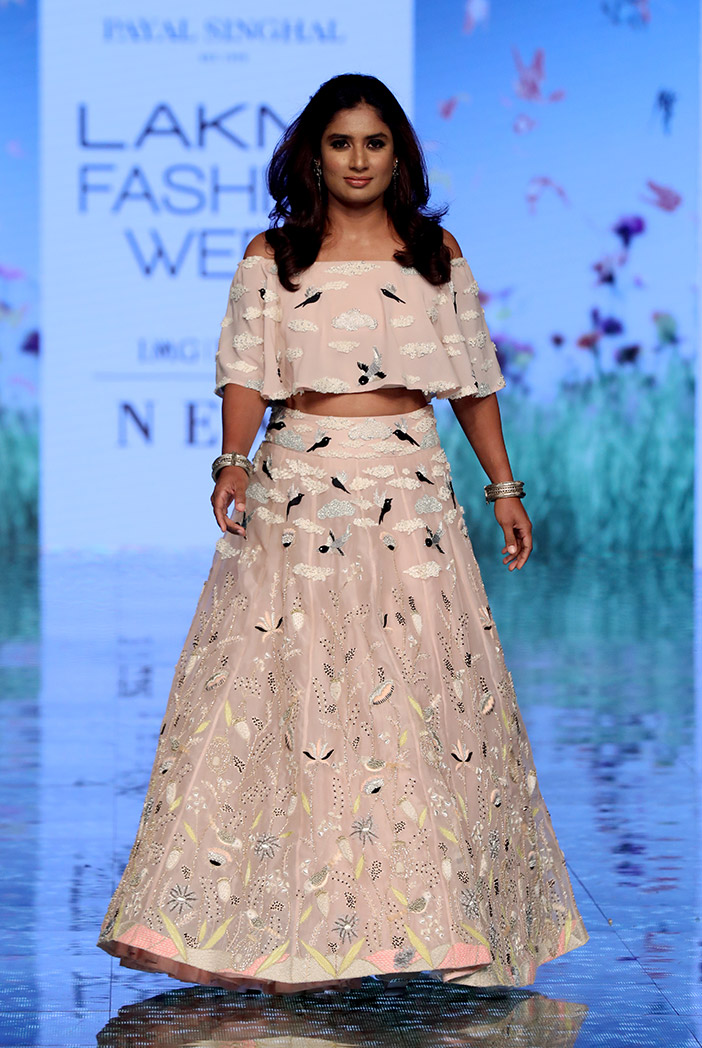 PS-FW731 Ruskin Blush Off Shoulder Choli with Lehenga