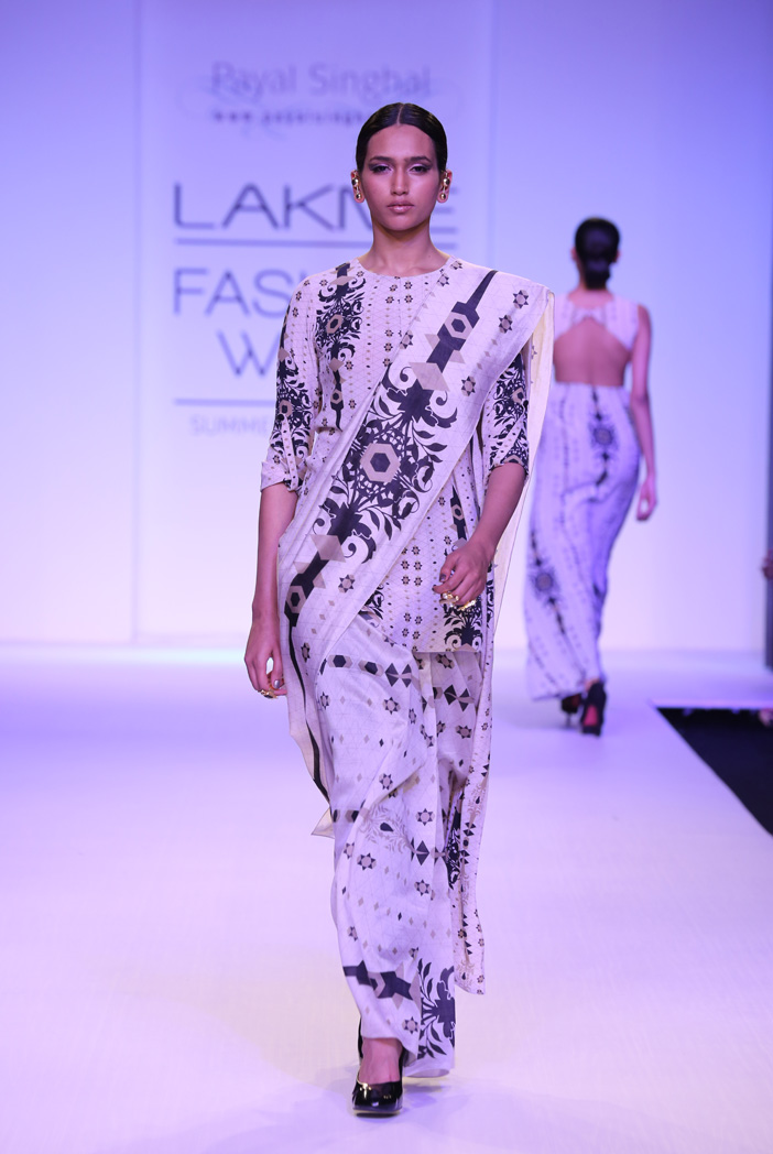 PS-FW247 Sabah Stone Printed Crepe High-Low Tunic with Silkmul Saree and Black Linen Pant