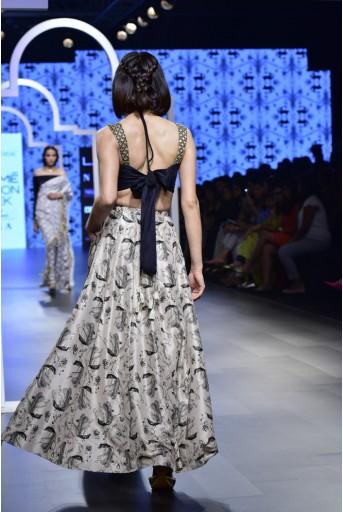 PS-FW467 Sabha Black Silk Bustier with Blush Printed Silk Low Crotch Pant Lehenga