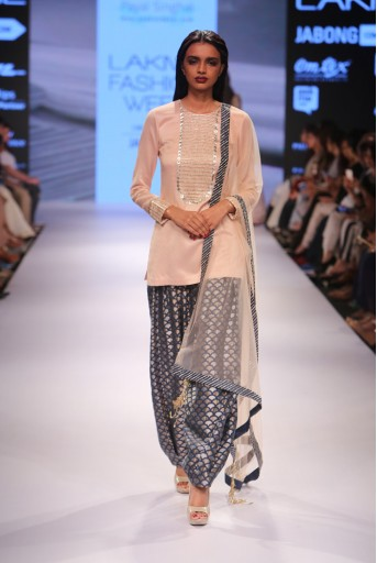 PS-FW360 Sachi Blush Silkmul Kurta with Navy Afghani Salwar and Blush Tulle Dupatta