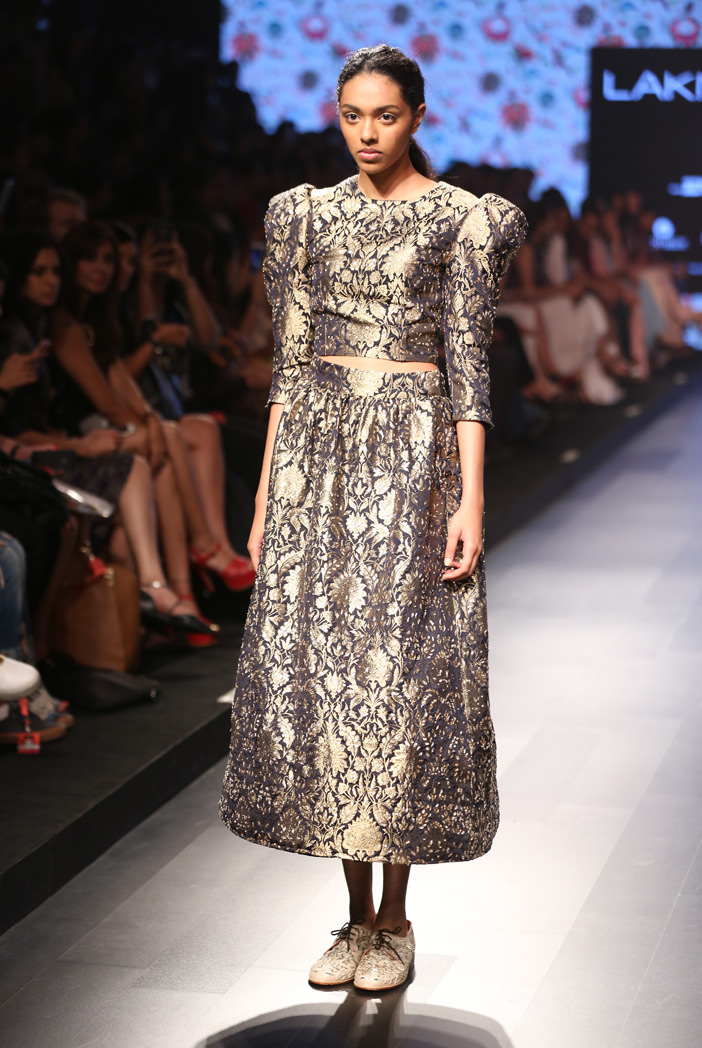 PS-FW385 Sadia Navy Brocade Top with Calf Length Skirt