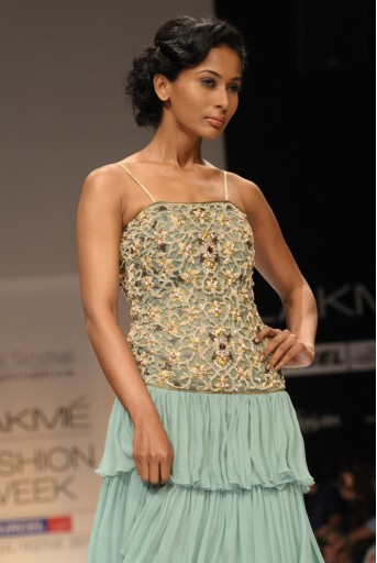 PS-FW112 Sage Green Layered Gown