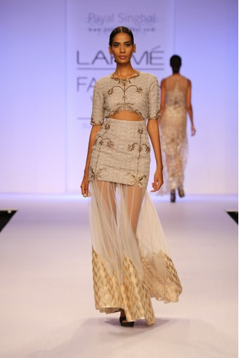 PS-FW255 Sahara Stone Cutout Dress with Tulle skirt with Banarsi Border