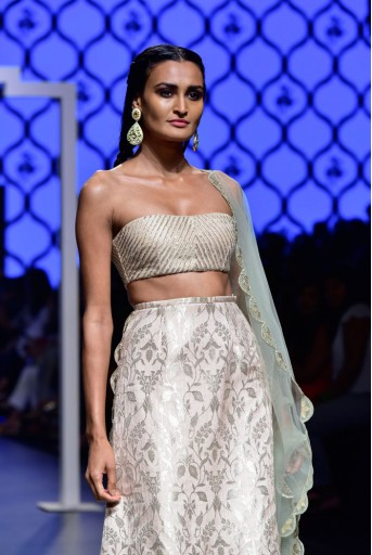 PS-FW480 Saiba Blush Silk Bustier with Brocade Lehenga and Mint Net Dupatta
