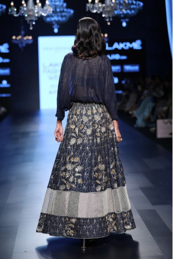 PS-FW460 Sama Navy Mukaish Georgette Tunic with Silk Lehenga