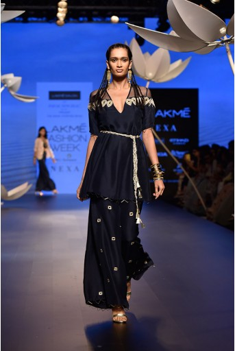 PS-FW518 Samira Navy Silk and Organza Kurta with Palazzo and Gold Lace Belt