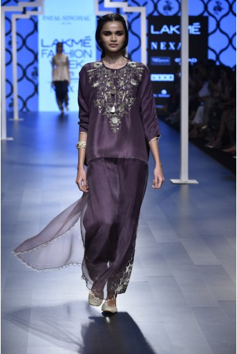 PS-FW471 Samiya Eggplant Silk and Organza Kaftaan Kurta with Low Crotch Pant