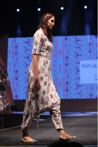 PS-FW626 Sanaz Grey Crepe Jumpsuit