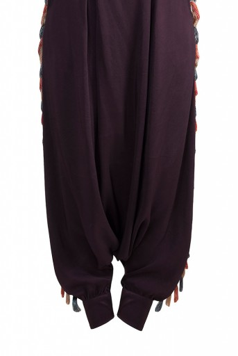 PS-FW618 Saneh Stone Crepe Kaftaan with Camisole and Purple Low Crotch Pant