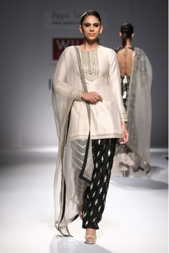 PS-FW297 Sanober Stone Dupion Silk Kurta with Black Dupion Silk Salwar and Organza Dupatta