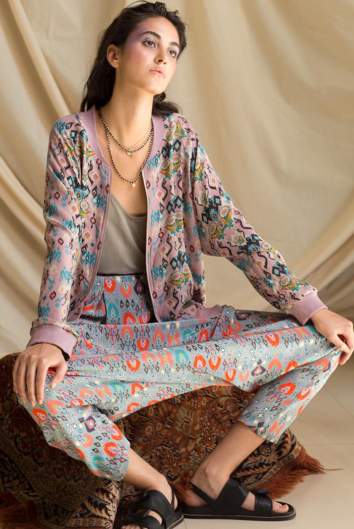 PS-JK0003 Sara Pink Printed Georgette Bomber Jacket