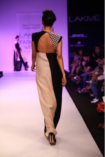 PS-FW201 Sarmeen Blush and Black Printed Gown