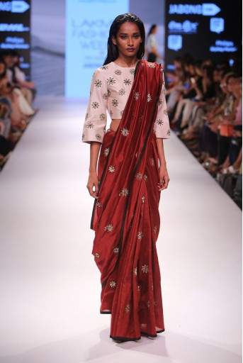PS-FW369 Sarwat Stone Silkmul Choli with Marsala Red Silkmul Saree