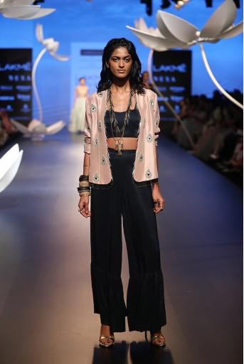 PS-FW519 Sayan Rose Pink Silk Jacket with Navy Silk Bustier and Sharara