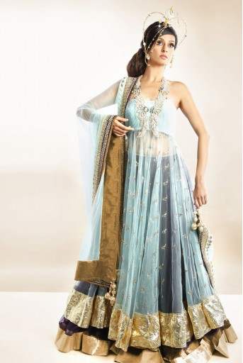 PS-FW114 Sea Blue Mukaish Kalidar and Skirt