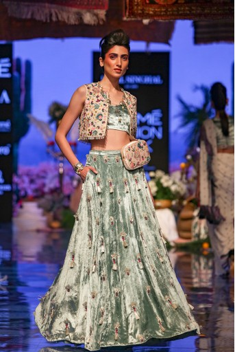 PS-FW641 Seine Stone Georgette Short Jacket with Periwinkle Blue Velvet Bustier and Lehenga