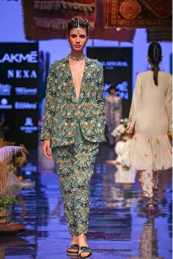 PS-FW644 Selma Blue Printed Georgette Jacket and Pant