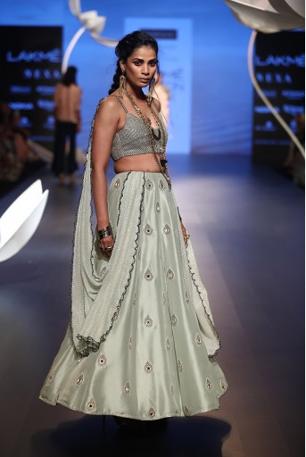 PS-FW520 Sema Powder Blue Silk Choli with attached Dupatta and Lehenga