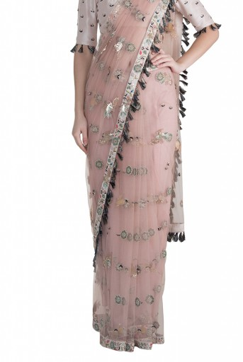 PS-FW608 Semra Stone Silk Choli with Rose Pink Net Saree