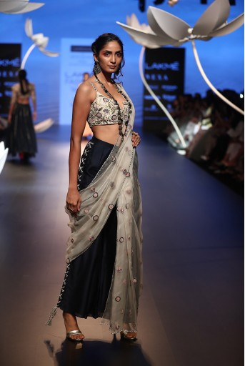 PS-FW510 Serra Stone Silk Choli with Navy and Stone Pant Saree