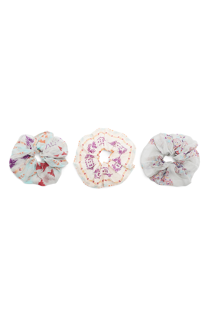 PS-SCR039  Set of 3 Assorted Organza and Silkmul Scrunchies in Signature Prints