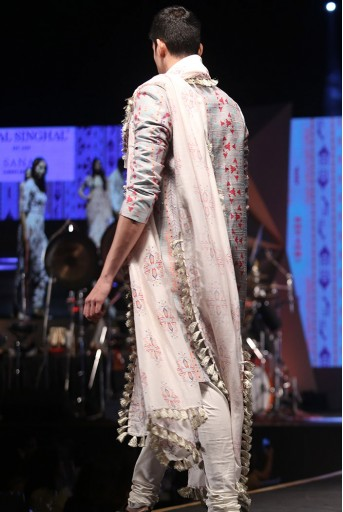 PS-FW624 Shahab Grey Printed Dupion Silk sherwani with Off-white Cotton Silk Churidar and Cream Ikat Butti Silkmul Dupatta