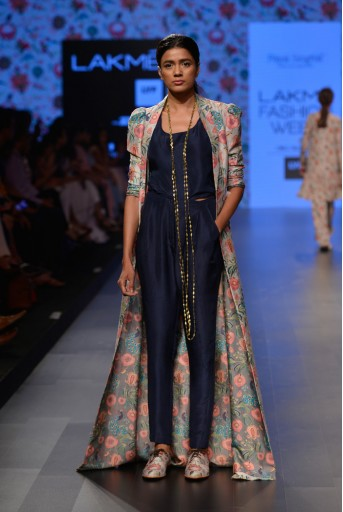 PS-FW373 Shaheen Khaki Printed Dupion Silk Duster Jacket with Navy Silk Camisole and Pant
