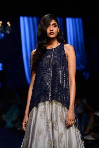 PS-FW444 Shaya Navy Mukaish Georgette Raised Hem Tunic with Grey Silkmul Lehenga