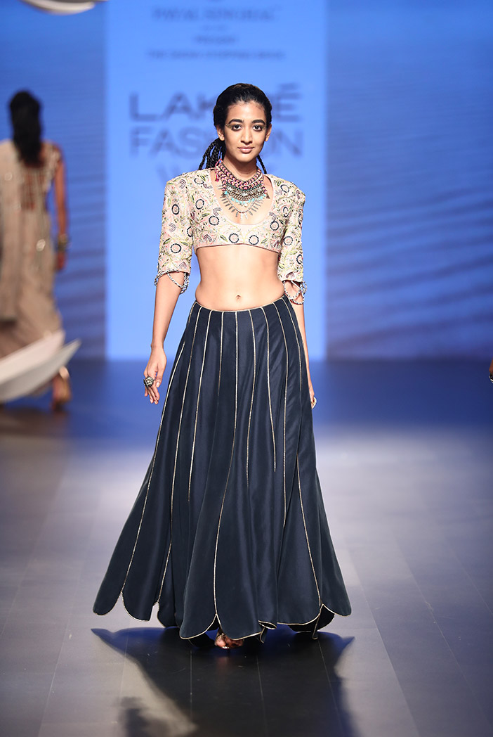 PS-FW509 Shaza Rose Pink Silk Choli with Navy Scallop Lehenga