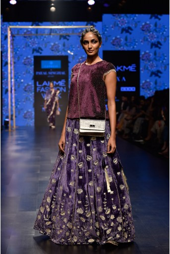 PS-FW559 Shirin Purple Velvet Long Choli with Midnight Blue Velvet Lehenga