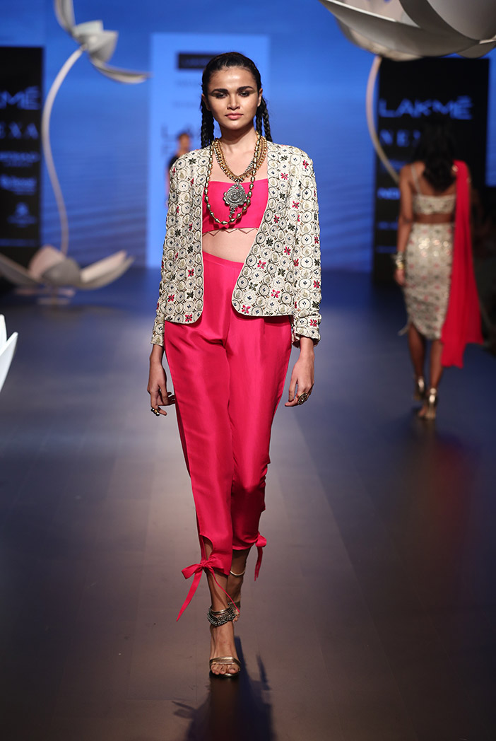 PS-FW513 Sila Stone Silk Jacket with Hot Pink Silk Bustier and Tie Up Pant