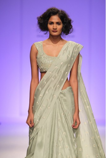 PS-FW343 Soliel Pale Green Silk Choli with Cropped Saree and Net Tiered Underskirt