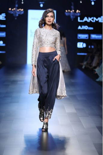 PS-FW423 Sonia Grey Silk Anarkali with Navy Silk Low Crotch Pant