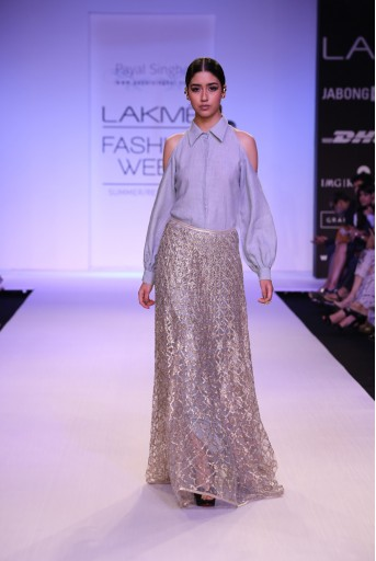 PS-FW241 Sophia Pale Blue Linen Long Shirt Dress with Stone Tule Lehenga