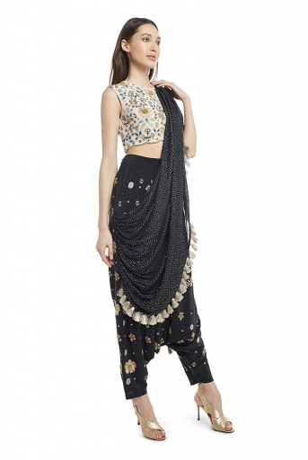 PS-FW538-Q  Stone Colour Crepe Choli and Black Colour Crepe Low Crotch Pant with Attached Mukaish Georgette Drape