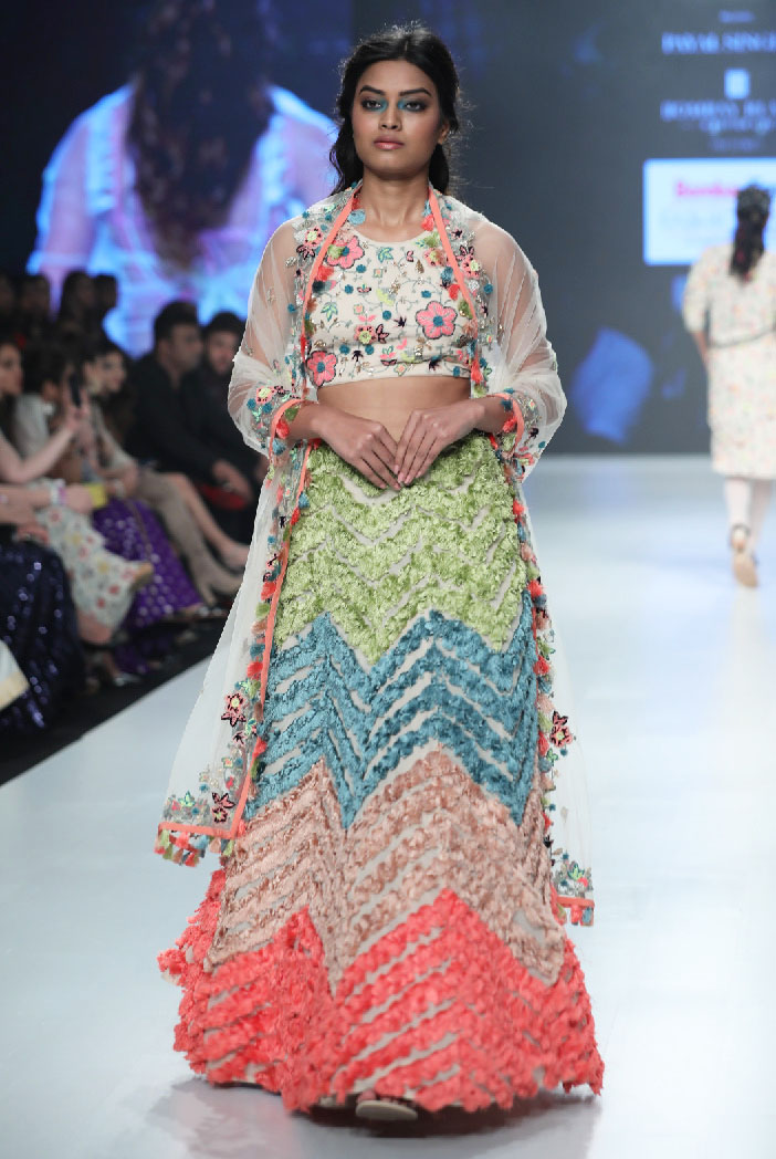 PS-FW673/A/1  Stone Colour Georgette Back Tie-up Choli with Lehenga and Net Dupatta