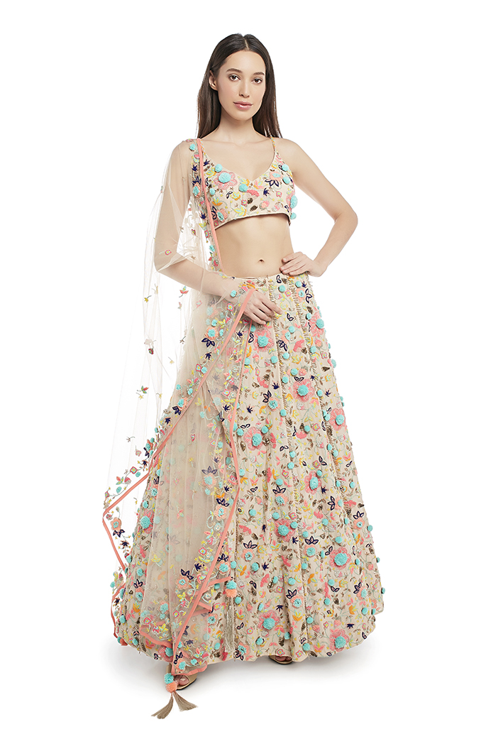 PS-FW675-B-1  Stone Colour Georgette Choli with Lehenga and Net Dupatta