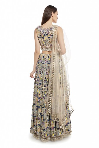 PS-FW660-B  Stone Colour Georgette Choli with Periwinkle Blue Colour Georgette Lehenga and Stone Net Dupatta