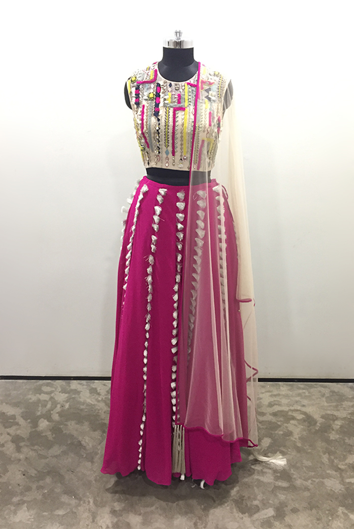 PS-LH0008/B/1  Stone Colour Organza Back Tie-Up Choli with Hot Pink Georgette Lehnega and Stone Colour Net Dupatta