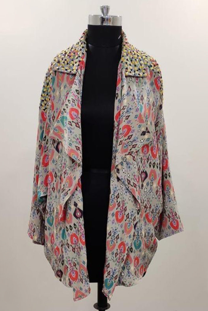 PS-JK0006-2  Stone Colour Printed Crepe Jacket