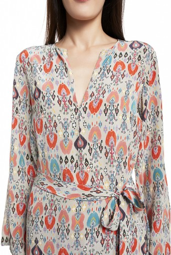 PS-KF0001-J  Stone Colour Printed Crepe Kaftaan