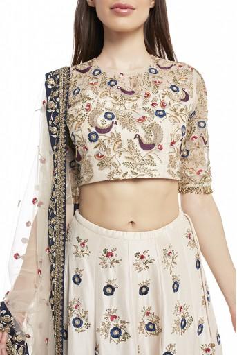 PS-FW580-B  Stone Colour Silk Choli and Lehenga with Net Dupatta